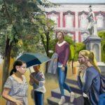 Piazza Bellini_Olio su lino_90 x 90 cm_2020