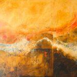 Pittura velata 2, 2017, olio e collage su tela, 160 x 200 cm