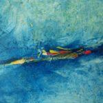Velato azzurro 2, 2017, olio e collage su tela, 160 x 200 cm