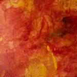 Velato rosso, 2017, olio e collage su tela, 160 x 200 cm