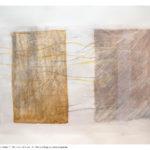 Flusso velato 2, olio e collage su carta, 50x70