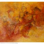 Gente rossa, olio e collage su tela preparata, 120x150 cm