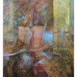 Non voglio, olio e collage su tela preparata, 70x50 cm