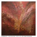 Piccolo velato rosso, olio e collage su tela, 80x80 cm