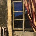 Renato Guttuso, Finestra con tenda rossa, olio su tela, cm 65 x 54, 1960