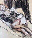 Renato Guttuso, Donna in sottoveste, olio e tecnica mista su cartoncino intelato, cm 66x70, 1964