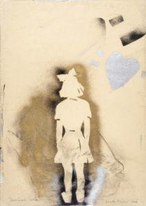 Giosetta Fioroni, Bambina sola, tecnica mista su carta, 2006