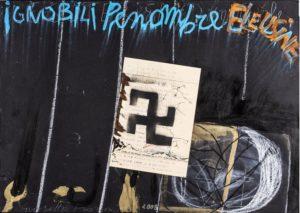 Fioroni Giosetta, Ignobili penombre elousine, 2008, tecnica mista e collage su carta, cm 70x100