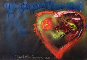 Giosetta Fioroni, Un Cuore in frantumi, 2018, tecnica mista e collage su carta, cm 70x100