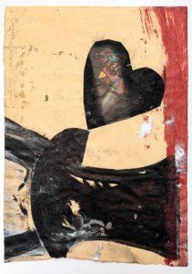 Giosetta Fioroni, Cuore e martello, tecnica mista su carta cm 48,5x35, 2005