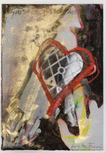 Giosetta Fioroni, Cuore imprigionato, tecnica mista su carta,cm 35x25,2011