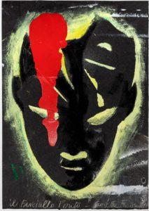 Giosetta Fioroni,Fanciullo ferito, tecnica mista sucarta, cm 50x35, 2011