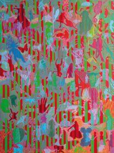 Rompete le righe, 2019, tecnica mista su tela, cm 180 x135