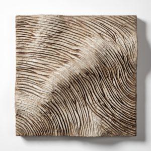 Lands 11, 2012, paste cementizie, pigmenti, polvere di sughero su tavola, cm 55x55.