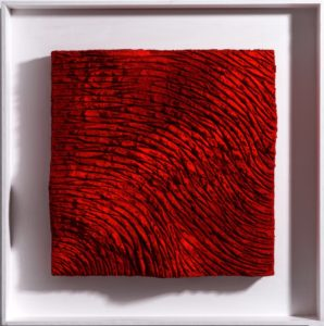 Lands pure pigment red, 2019, paste cementizie, sughero, collanti, pigmenti puri su tavola, cm 55x55.