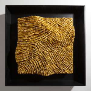 Landstar , 2019, paste cementizie, collanti, foglia oro su tavola, cm 55x55.