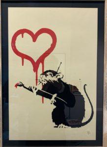 Banksy, Love Rat, 2004, serigrafia su carta, cm 50x35