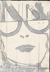 giosetta_fioroni-frammento-ragazza_a_villa_r-1968-vernice_alluminio_e_matita_su_carta-50x35_cm