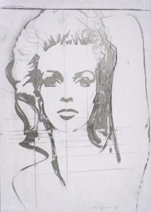 giosetta_fioroni-la_straniera-1969-vernice_alluminio_e_matita_su_carta-100x70_cm