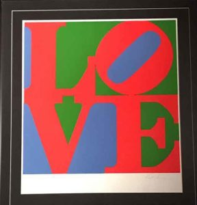 ROBERT INDIANA LOVE-serigrafia a colori su carta 94x87 cm