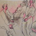Renato guttuso, Conversazione,  china biro watercolors on paper, cm 20x30, 1937/38