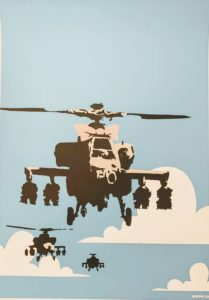 Banksy, Happy Choppers, 2003,silk-screen print, cm 70x50