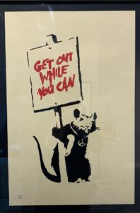 Banksy, Get out while you can, 2004, silk-screen print, cm 50x35